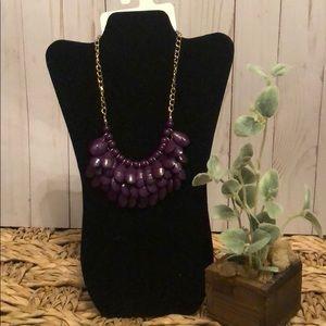 Purple plum multi layer beaded necklace chain bib